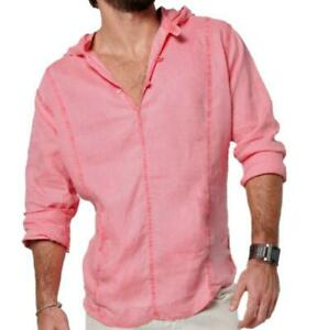 HOT-Men-039-s-V-neck-Linen-Shirt-Long-Sleeve-Casual-Tops-Slim-Fit-T-Shirt-Outfits-Sz