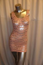 Unique Dusty Pink Rose Floral  Lace Transparent Club-wear Mini Dress /Top 8-10