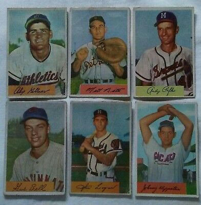 6 Original 1954 Bowman Baseball Cards Cool Vintage Lot Milwaukee Braves Ebay