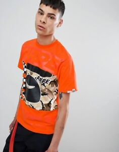 da76e4cab660 AAPE By A Bathing Ape camo block panel t-shirt in orange size M ...