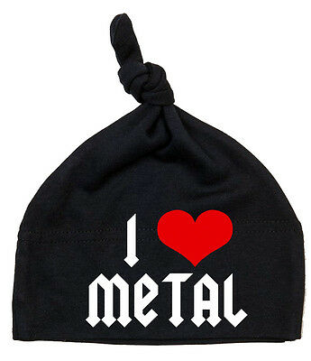 I LOVE METAL Einzelknoten Babymütze schwarz