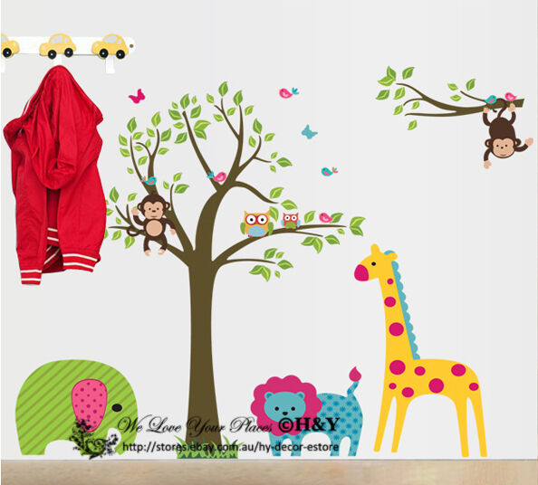 Jungle Safari Animals Tree  Wall Stickers Nursery Decal Kids Baby Room Decor DIY