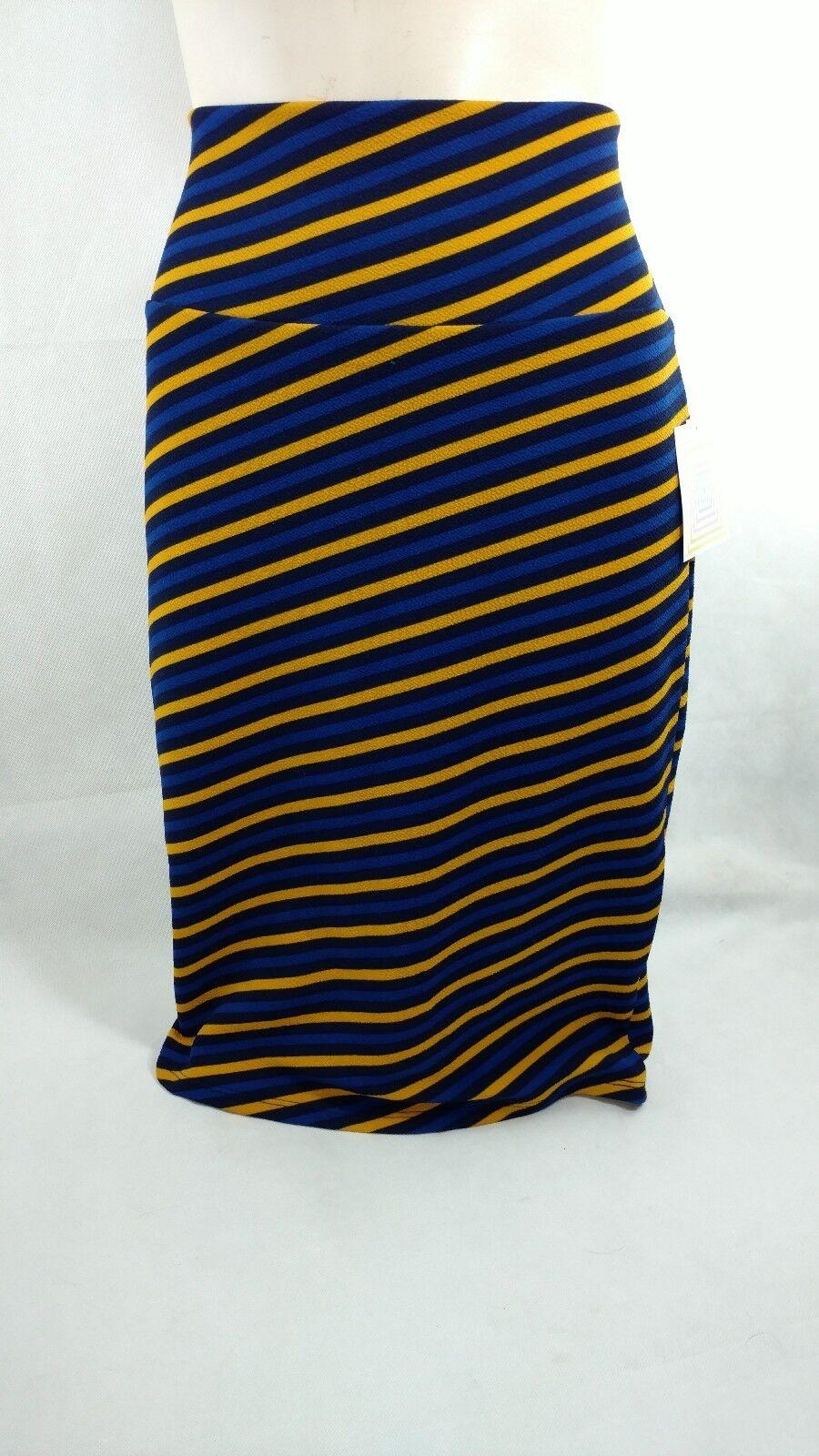 LulaRoe Womens Sz S Cassie Skirt Diagonal Striped gold Royal bluee Navy
