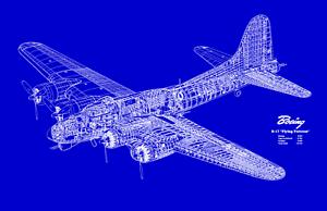 Boeing B-17 Flying Fortress Airplane Blueprint Plan 172