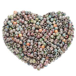 500-Mix-Rund-Blumen-Acryl-Spacer-Perlen-Beads-Grosslochperlen-8mm-Wholesale