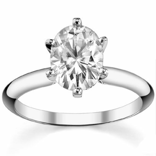 2.25CT Forever One Oval Moissanite Solitaire Ring 14K White gold