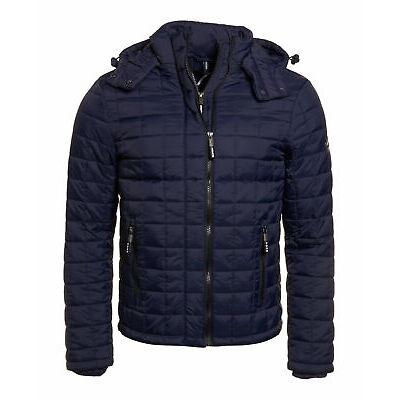 New Mens Superdry Box Quilt Fuji Hooded Jacket Sport Code Navy