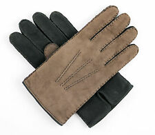 Men's BRIONI Italy Brown Black Leather Shearling Winter Gloves S M 8.5 $695 NIB!
