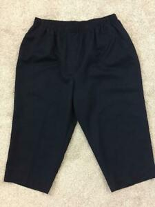 Alia-petites-capris-size-16P-elastic-waist-dark-blue-polyester
