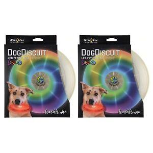 Nite-Ize-Flashflight-Dog-Discuit-LED-Light-Up-Flying-Disc-Disco-Frisbee-2-Pack