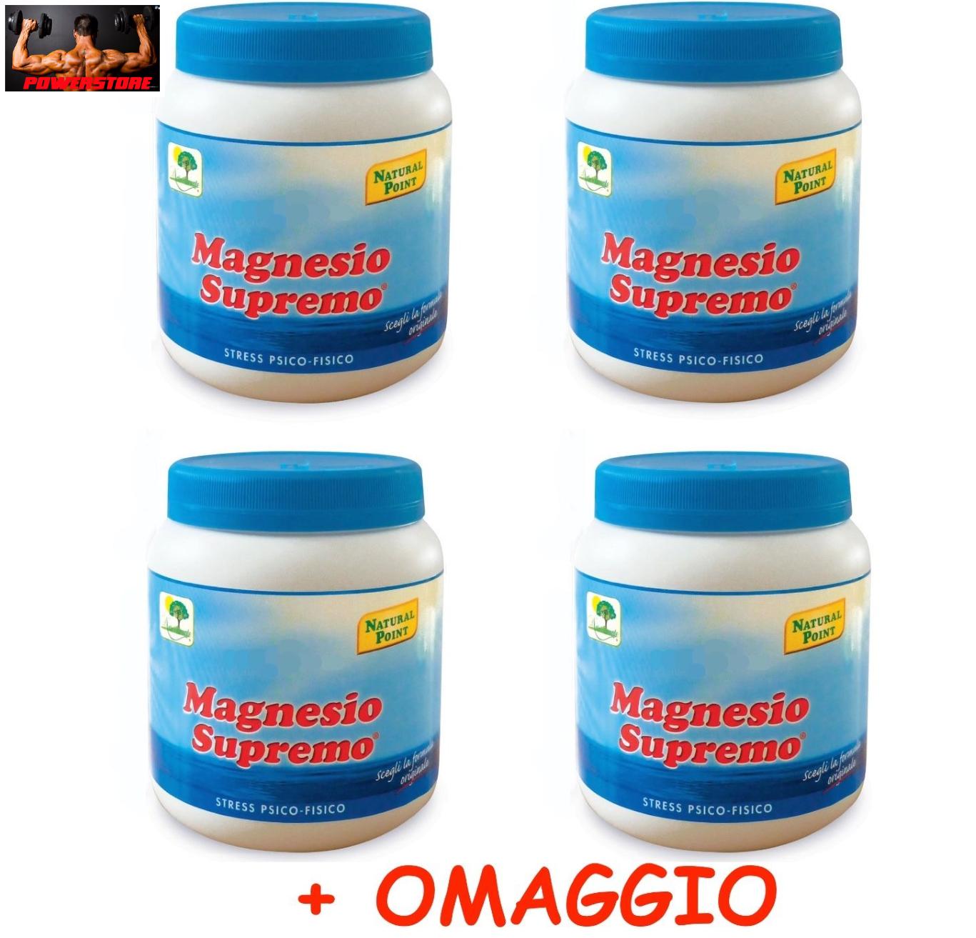NATURAL POINT - MAGNESIO SUPREMO 4 x 300 GR + OMAGGIO - ANTISTRESS NATURALE