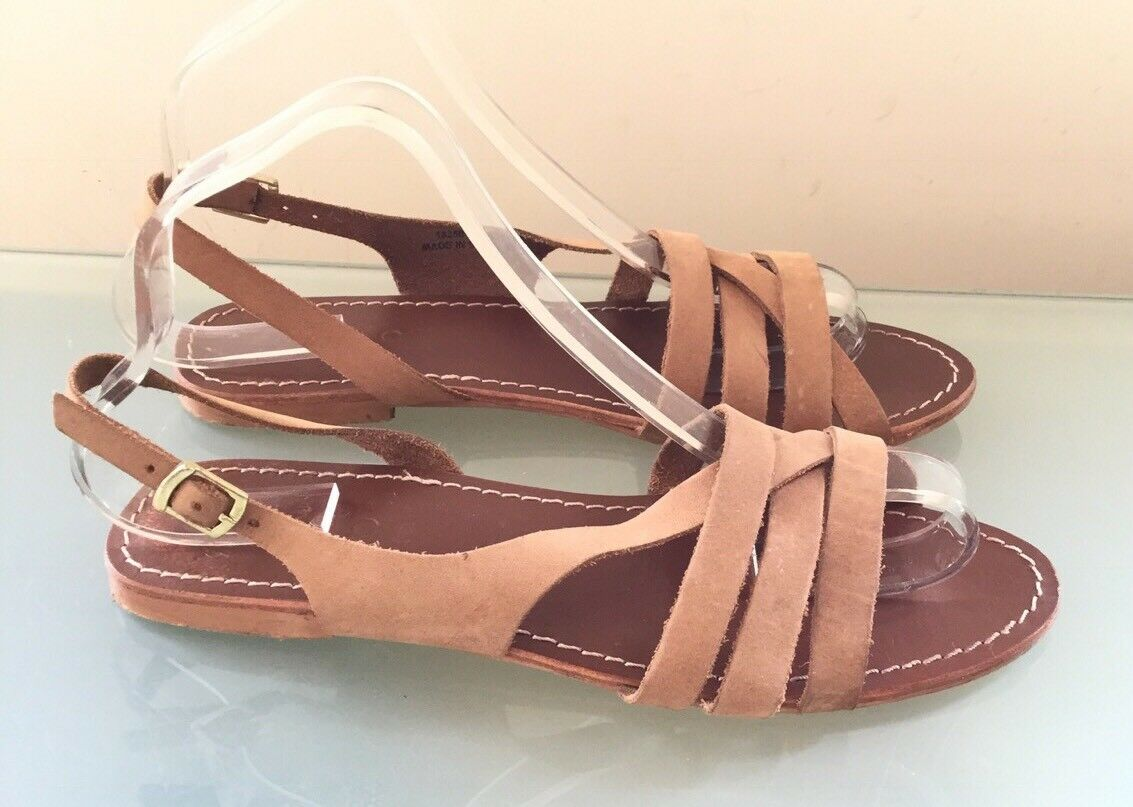 Office Ladies Casual Sandals 6 Tan Leather Flat Casual Ladies Summer Holiday Slingbacks 315e78