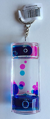Liquid Lava Key Chain Pink/Fuschia and Blue ~ Great Quality & FUN! New!