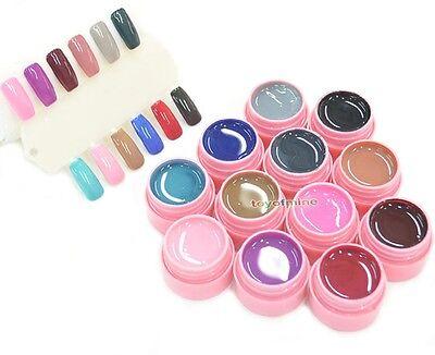 12 Pot Soak Off Cover Pure Color Nail Art UV Builder Gel Nail Tip DIY Decoration