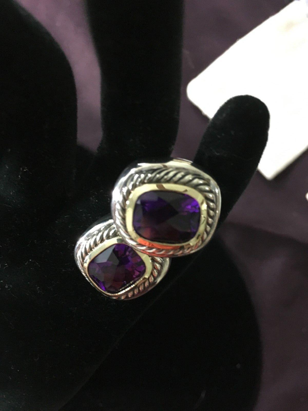 David Yurman Amethyst Albion Pierced Earrings DY 925 Sterling & 585 14k gold
