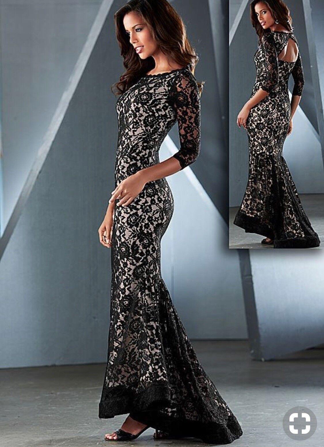 Venus Couture Größe 6 schwarz Lace Floral 3 4 Sleeve Trumpet Gown Dress NWOT