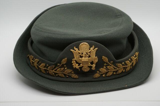 Korean - Vietnam War WAC Womens Army Corps Officer Wool Hat & Badge SIZE 22