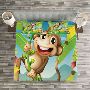 Nursery Quilted Bedspread Amp Pillow Shams Set Two Monkeys