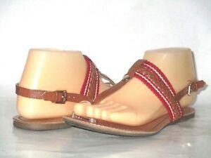 Women-039-s-Tommy-Hilfiger-Brown-Leather-Red-White-Braid-T-Strap-Flat-Sandals-SZ-7-M
