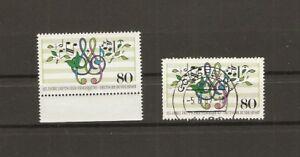 BUND-1987-2x-Michel-1319-postfrisch-RANDSTUCK-gestempelt-COESFELD-5-6-87-BRD