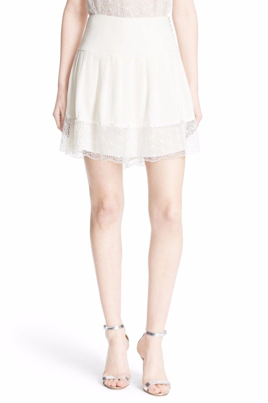 NWT Diane von Furstenberg Belita Lace Hem A-Line Skirt Ivory  348 - 8,10, 12,14