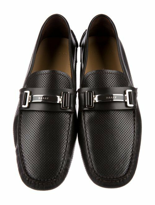 BALLY DRULIO nero PERFORATED LEATHER METAL LOGO DRIVING LOAFERS 10.5 US 43.5