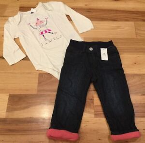 793e020ee Baby Gap Girls 18-24 Months Outfit. Robot Shirt   Denim Pink Lined ...