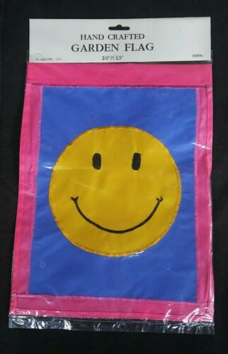 SMILEY FACE Garden Flag Embroidered Smile New Happy 10 X 13