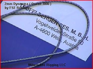 2mm per-10 ft Grey Ocean 3000 FSE Robline dyneema SK75 OC3-2GRY