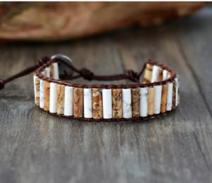 Natural Beaded Howlite & Jasper Leather Wrap Cuff Bracelet, Oblong White Brown