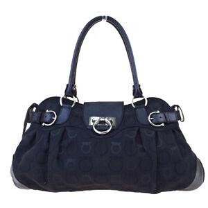 Authentic-SALVATORE-FERRAGAMO-Gancini-Shoulder-Bag-Canvas-Leather-Black-05ET875