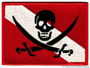 SCUBA-DIVING-PIRATE-FLAG-PATCH-iron-on-JOLLY-ROGER-EMBROIDERED-SKULL-CROSSBONES