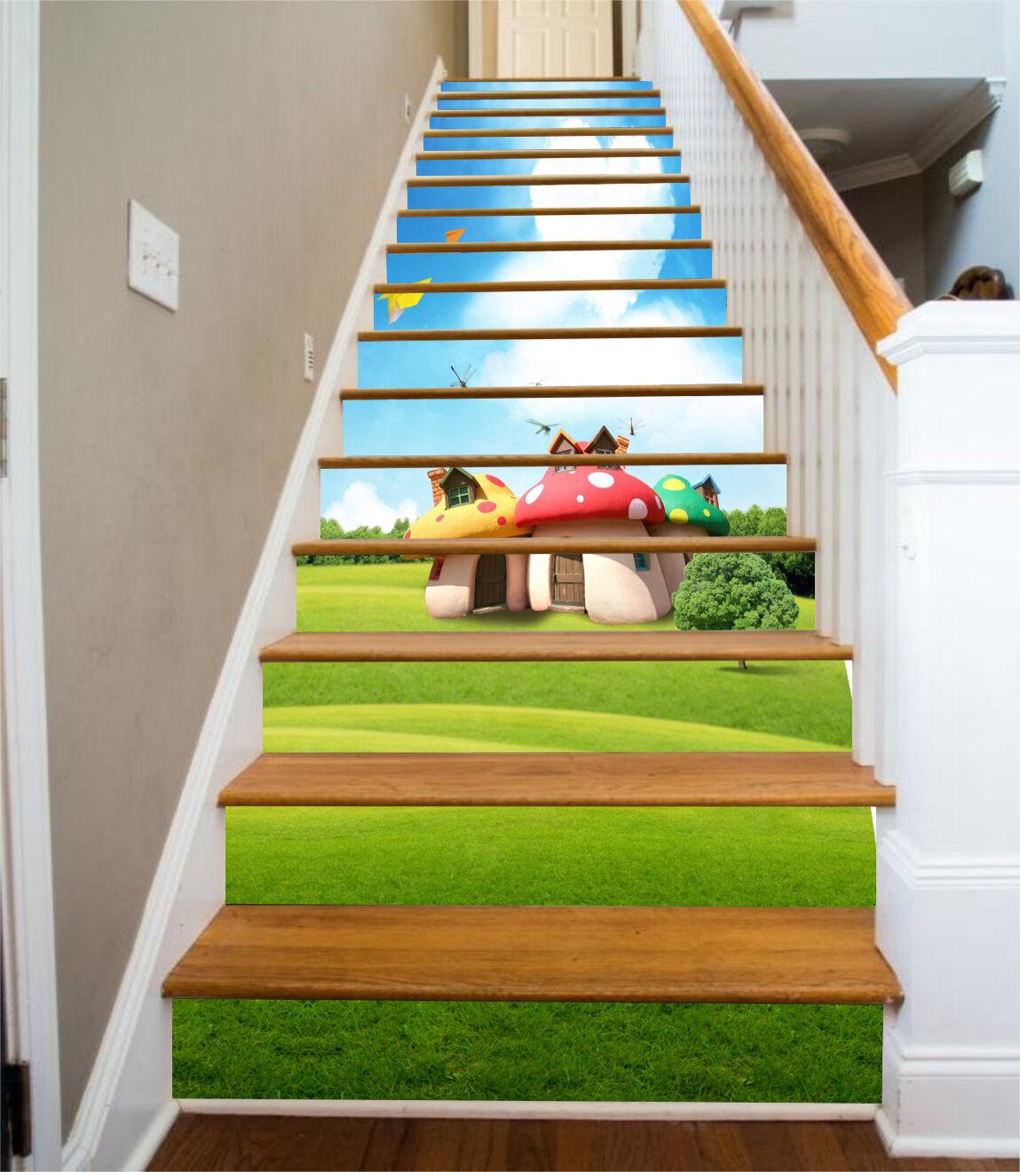 3D Sky lawn 37 Stair Risers Decoration Photo Mural Vinyl Decal WandPapier UK