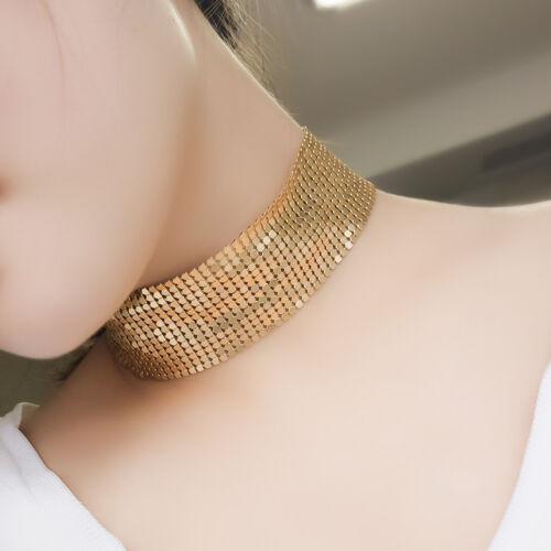 Gold Halskette Kurze Kette Choker  Halsreif Halsband für Party//Cocktailkleid