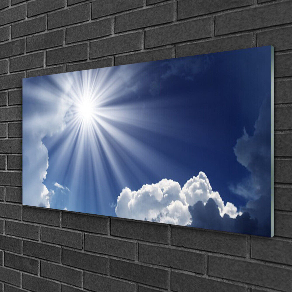 Print on Glass Wall art 100x50 Picture Image Sun Landscape