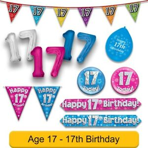 Image Is Loading AGE 17 Happy 17th Birthday Party Banners Balloons