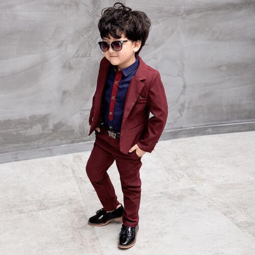 Kids Boys Suits Formal Children Prom Page Wedding Party Suit Black Red Blue Suit