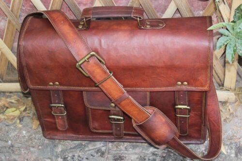 Genuine Vintage Brown Leather Messenger Bag Shoulder Laptop Bag Briefcase tote