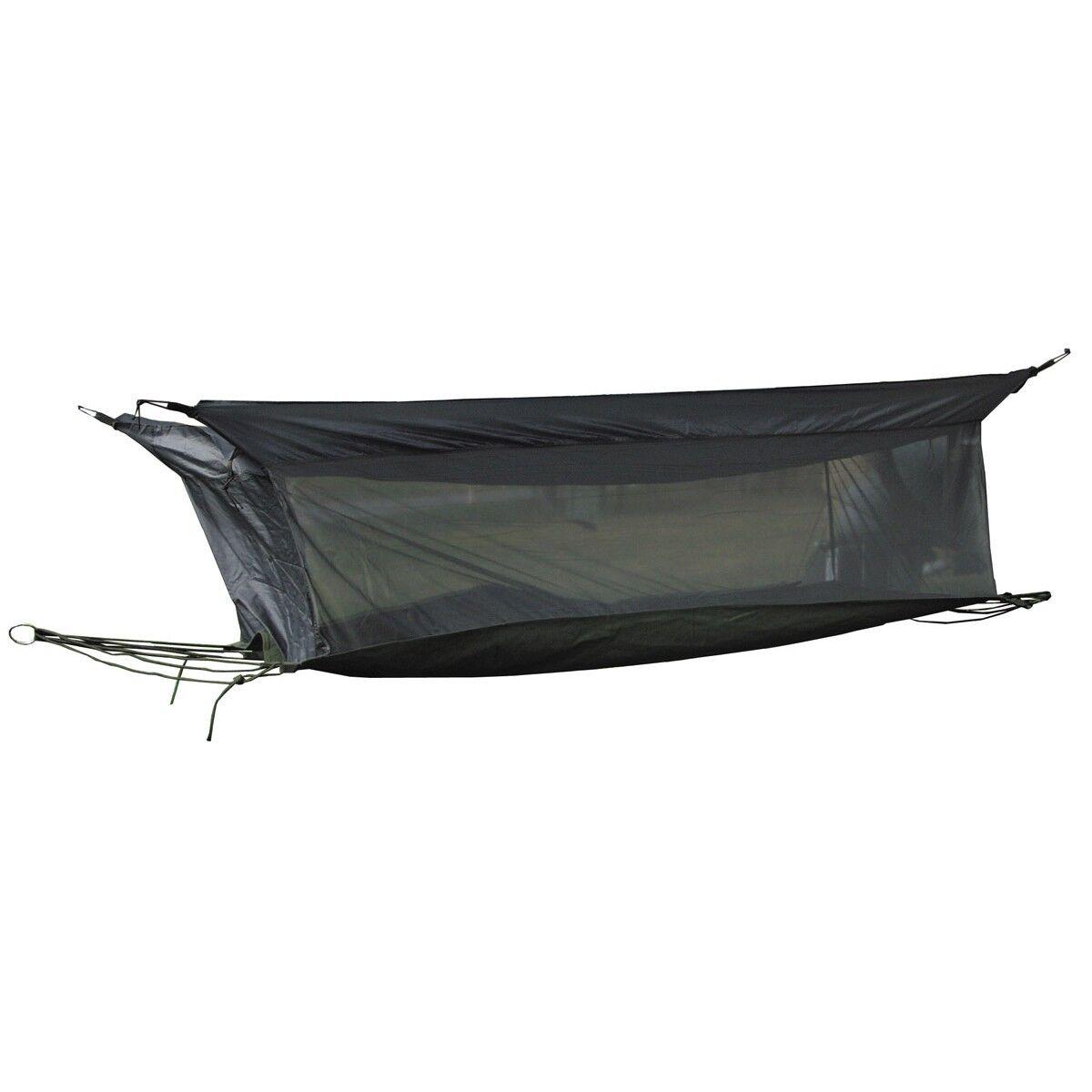 MFH Hamac Jungle avec moustiquaire transat transat Suspendu Chaise Longue Olive 220x75x55cm