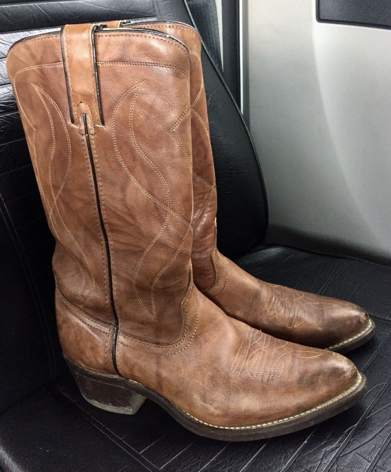 Vintage Texas Brand Brown Leather  Western Cowboy Boots Mens 8.5 D