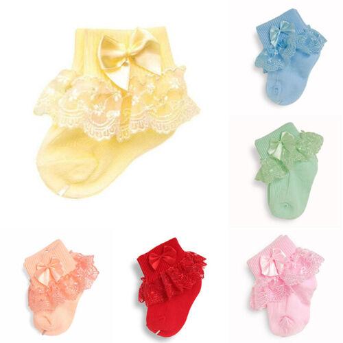 Kids Baby Girls Ankle Sock Infant Newborn Toddler Bow Lace Frilly Tutu Socks
