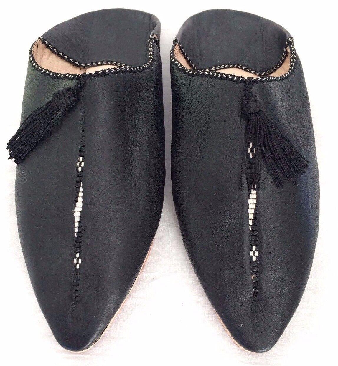 Babouche Marocaine woman leather shoe flat slipper embroidered Slipper black