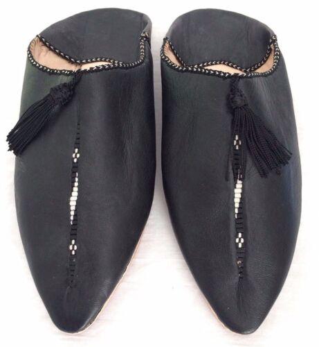Babouche Marocaine Frau Leder Schuh flach Slipper bestickt Pantoffel schwarz