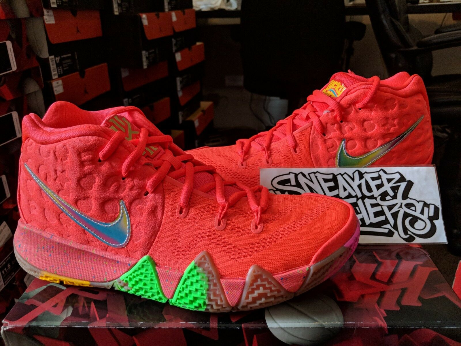 Nike Kyrie 4 IV Lucky Charms Bright Crimson Multi-color Cereal Pack BV0428-600