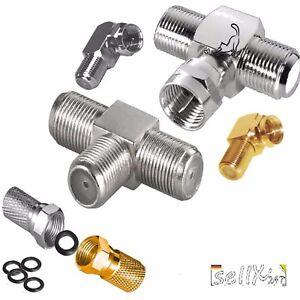 SAT-Kabel-ADAPTER-Winkel-F-Stecker-Buchse-T-Stueck-Kupplung-TV-Splitter-Verteiler