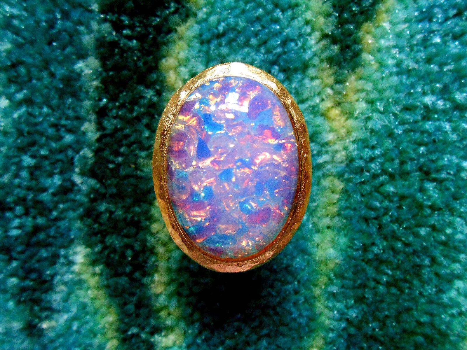 Kenneth Jay Lane Hammered Satin gold Pink Resin Opal Adjustable Ring 5 - 9
