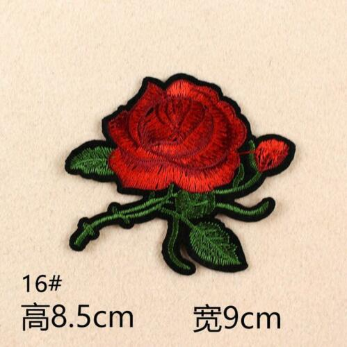 5X Embroidered Cloth Patch Rose flower Sewing Repair clothing Hat Bag Patches
