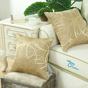 Set-of-2-Gold-Cushion-Covers-Pillow-Shell-Reversible-Striped-Circle-Sofa-45x45cm