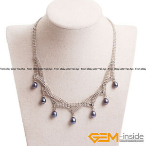 "6-7mm Black Cultured Freshwater Pearl Necklace For Women Gift 16-18""Adjustab<wbr/>le"