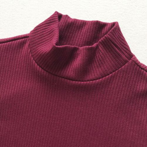 New Women Knitted High Neck Side Slit Long Sleeve Sweater Dress Jumper Plus Size